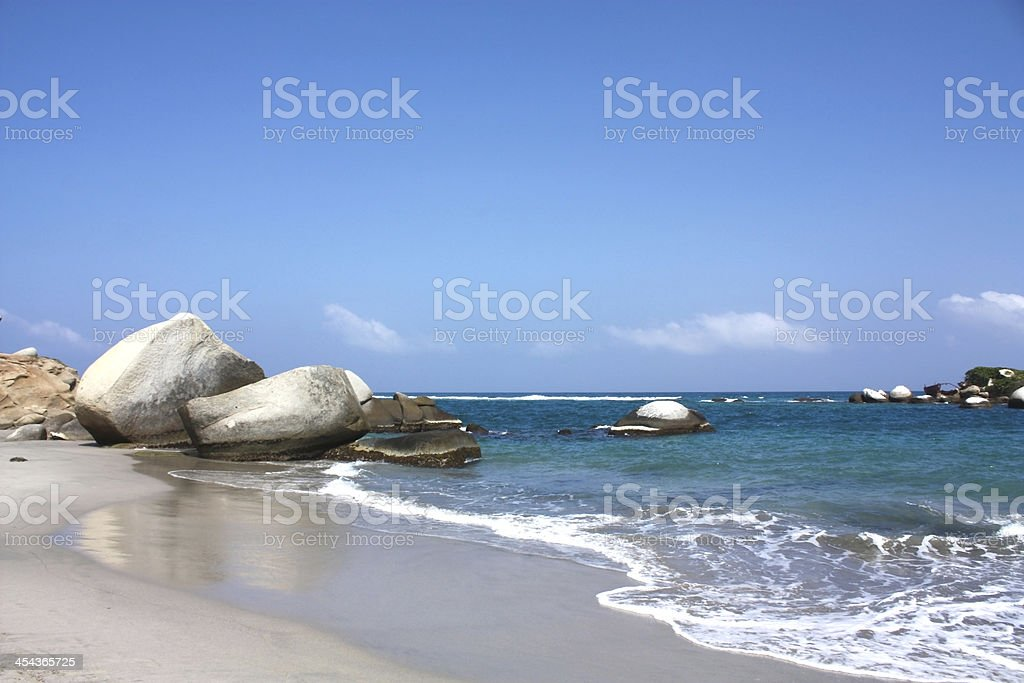 Caribbean beach with tropical forest. Tayrona National Park. Col royalty-free stock photo