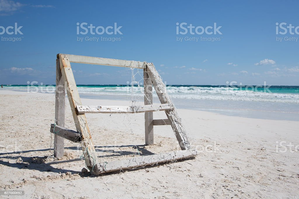 Caribbean beach with wooden Football cage - Mexico Tulum stock photo