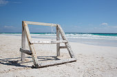 Caribbean beach with wooden Football cage - Mexico Tulum