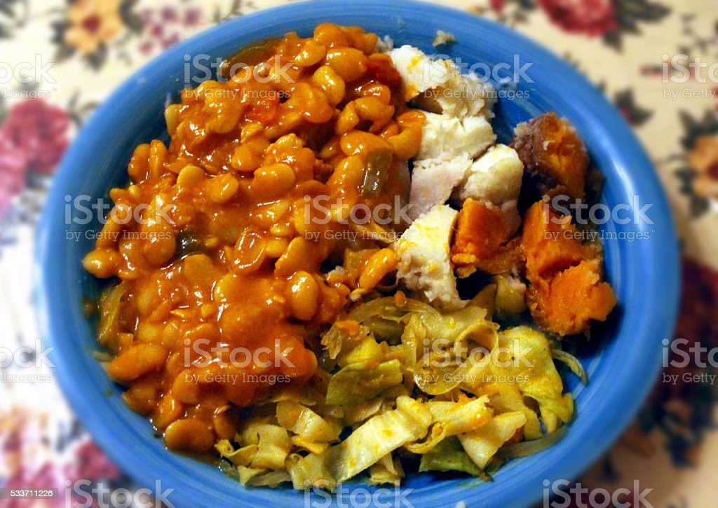 Caribbean Cuisine Dinner Plate stock photo