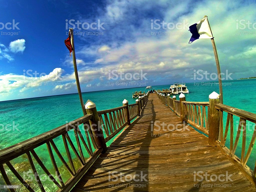 Caribbean Diving Dock stock photo