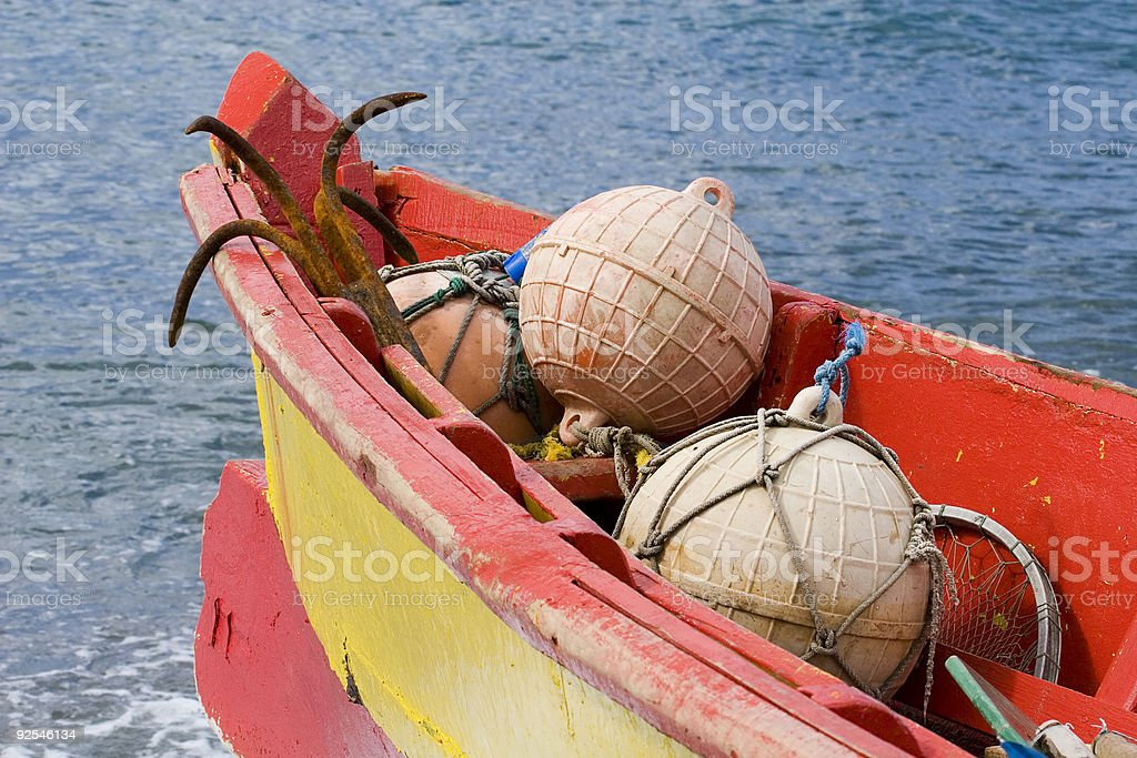 Caribbean Fishing Boat with Floats royalty-free stock photo