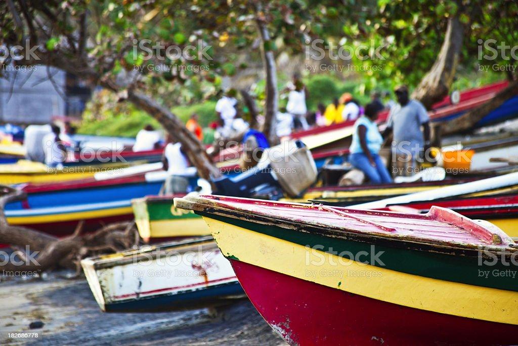 caribbean fishing boats stock photo