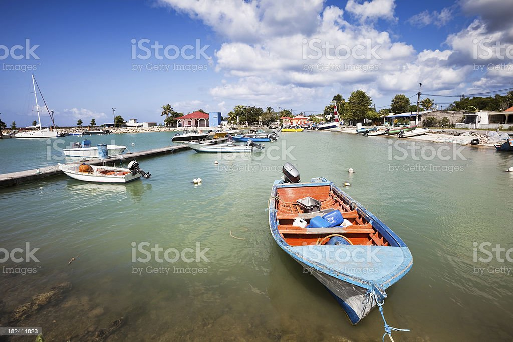 Caribbean Fishing Harbor with Boats stock photo