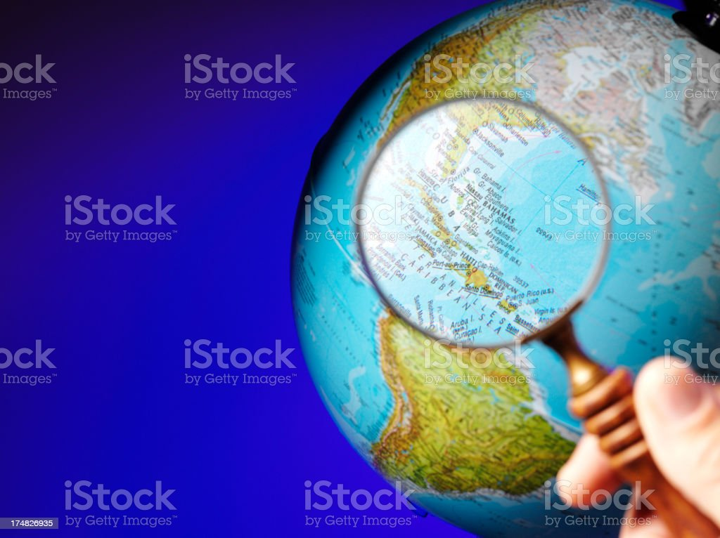 Caribbean in through a Magnifying Glass royalty-free stock photo