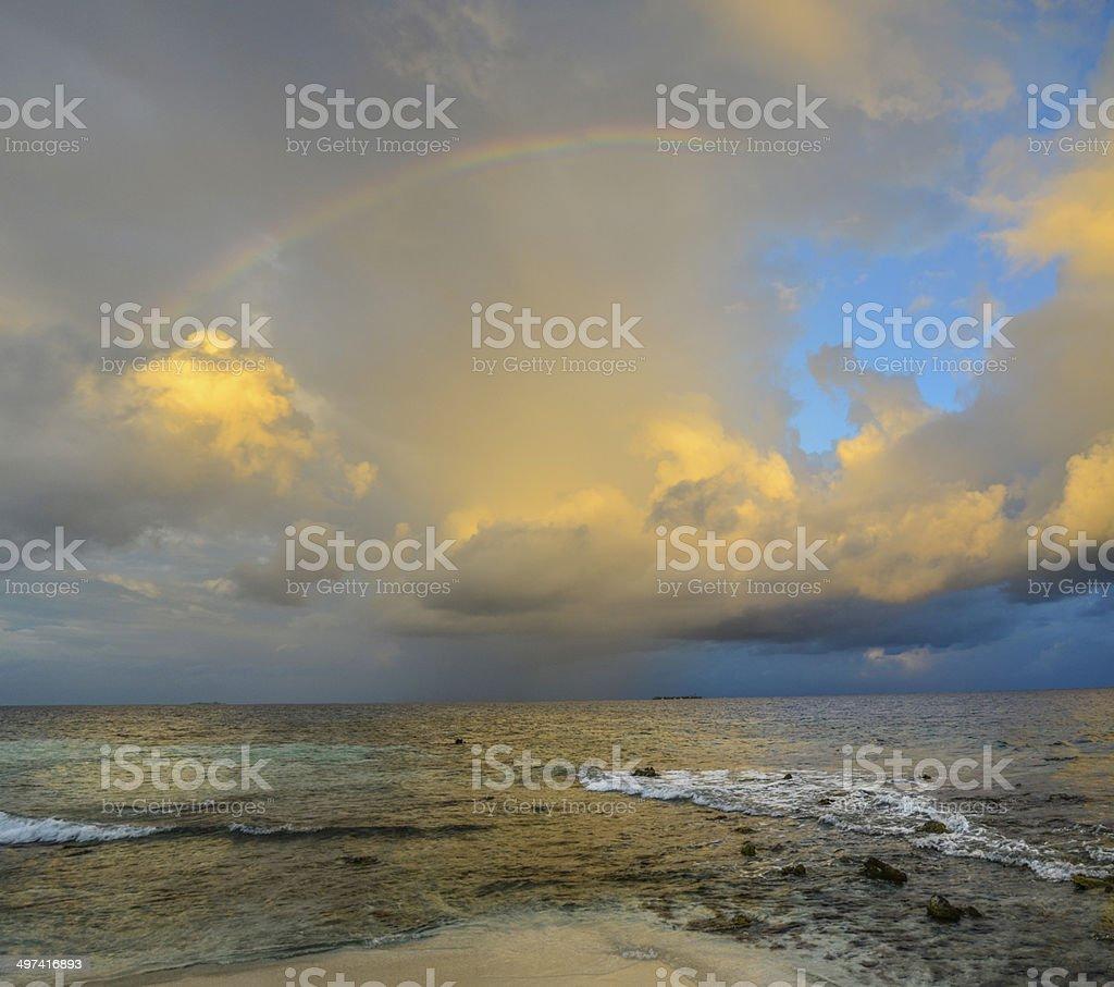 Caribbean Island Rainbow stock photo