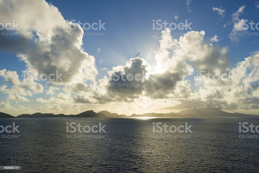 Caribbean islands at sunrise (Saint Kitts and Nevis) stock photo