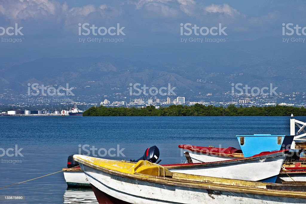 caribbean port stock photo