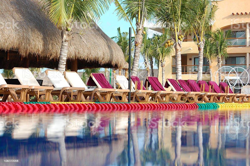 Caribbean resort pool stock photo