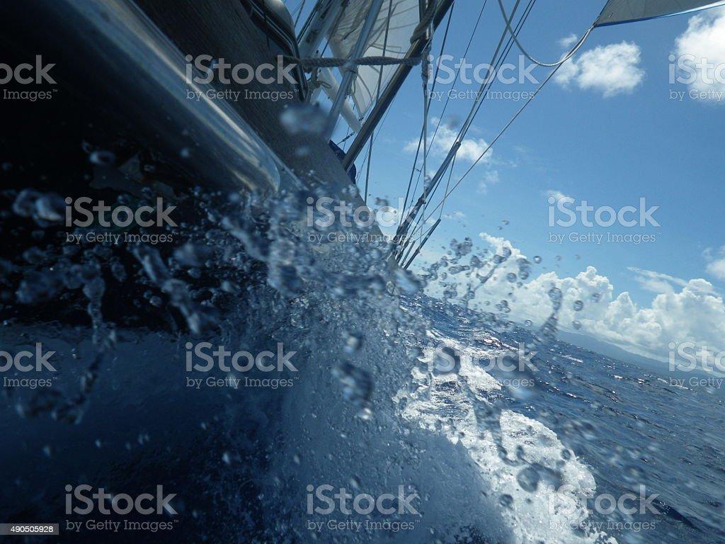 Caribbean Sailing Splash! stock photo