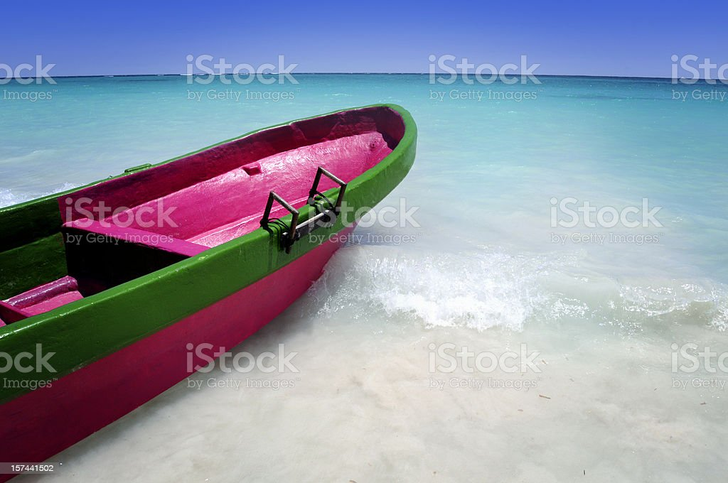 Caribbean sea and a colorful boat royalty-free stock photo