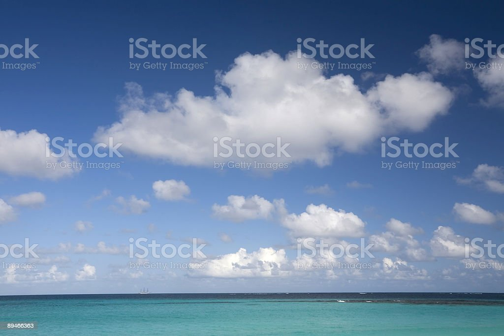 Caribbean Sea and Clouds royalty-free stock photo