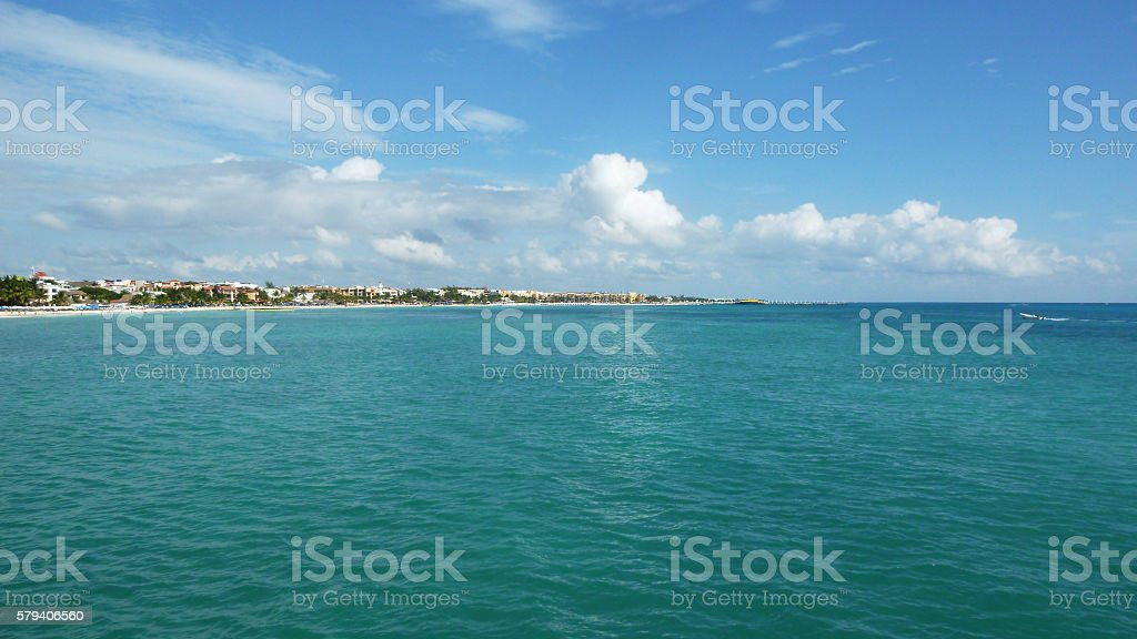 Caribbean sea and the Isla Mujeres in Mexico stock photo