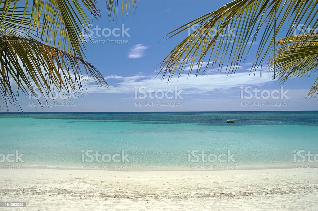 Caribbean Sea and white sand beach stock photo