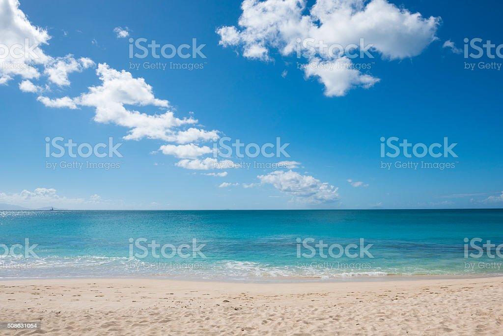Caribbean Sea at Darkwood Beach, Antigua stock photo
