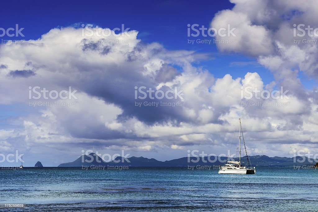 Caribbean Sea, Catamaran and Sky, Martinique royalty-free stock photo