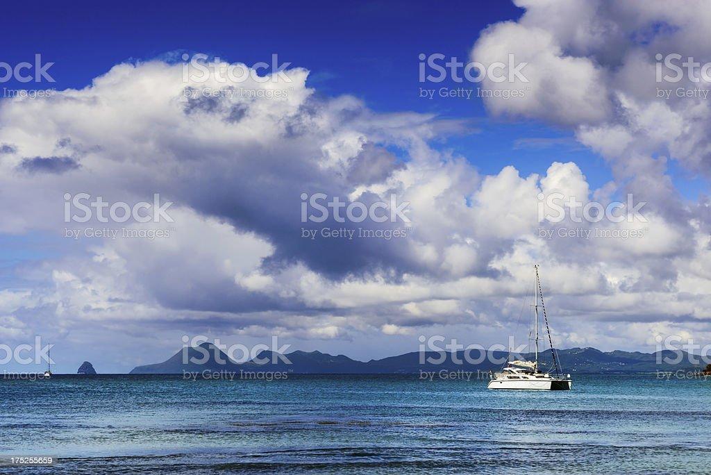 Caribbean Sea, Catamaran and Sky, Martinique stock photo