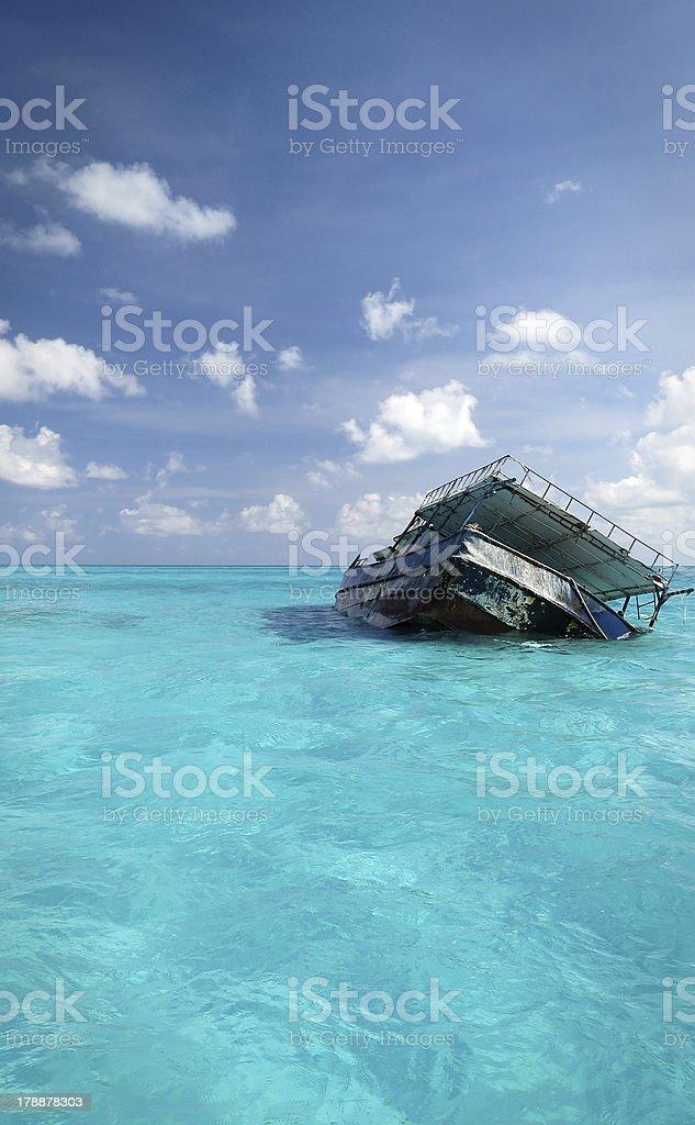 Caribbean Sea Shipwreck royalty-free stock photo