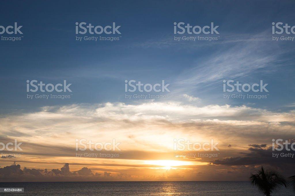 Caribbean sea sunset stock photo
