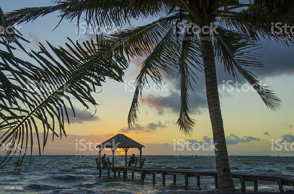Caribbean Sunrise Pier stock photo