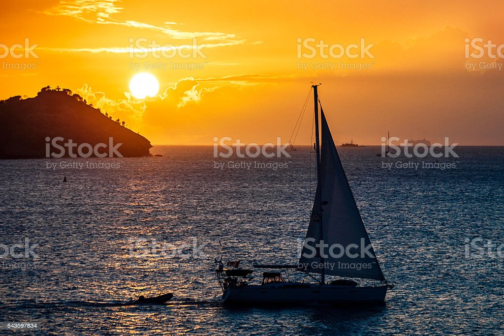 Caribbean sunset. Antigua & Barbuda. stock photo