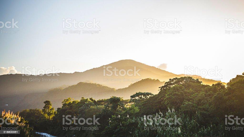 Caribbean sunset. stock photo