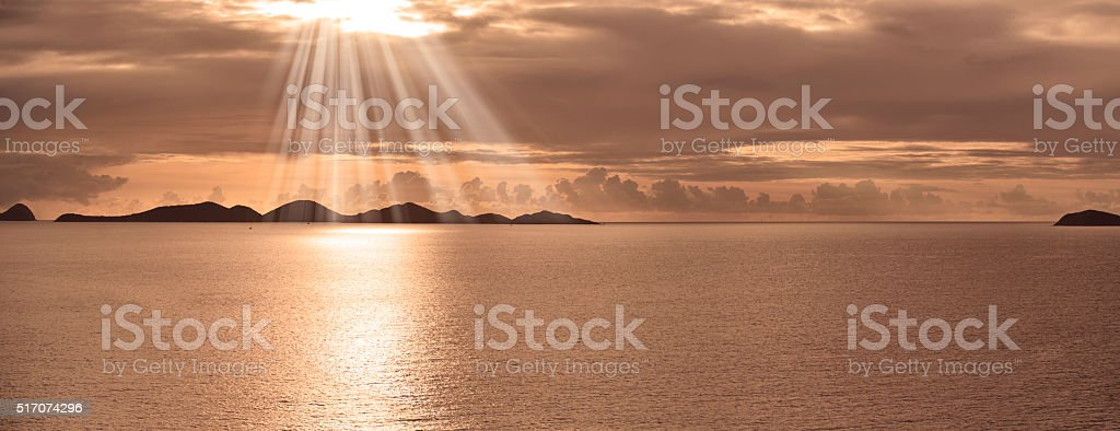 Caribbean Tortola Island Sunset British Virgin Islands stock photo