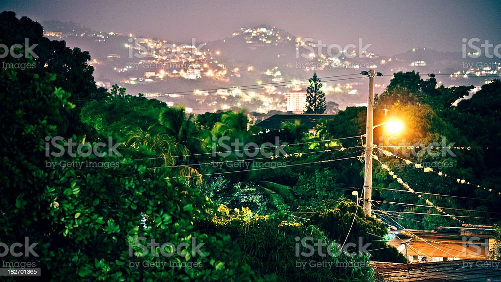 caribbean town stock photo