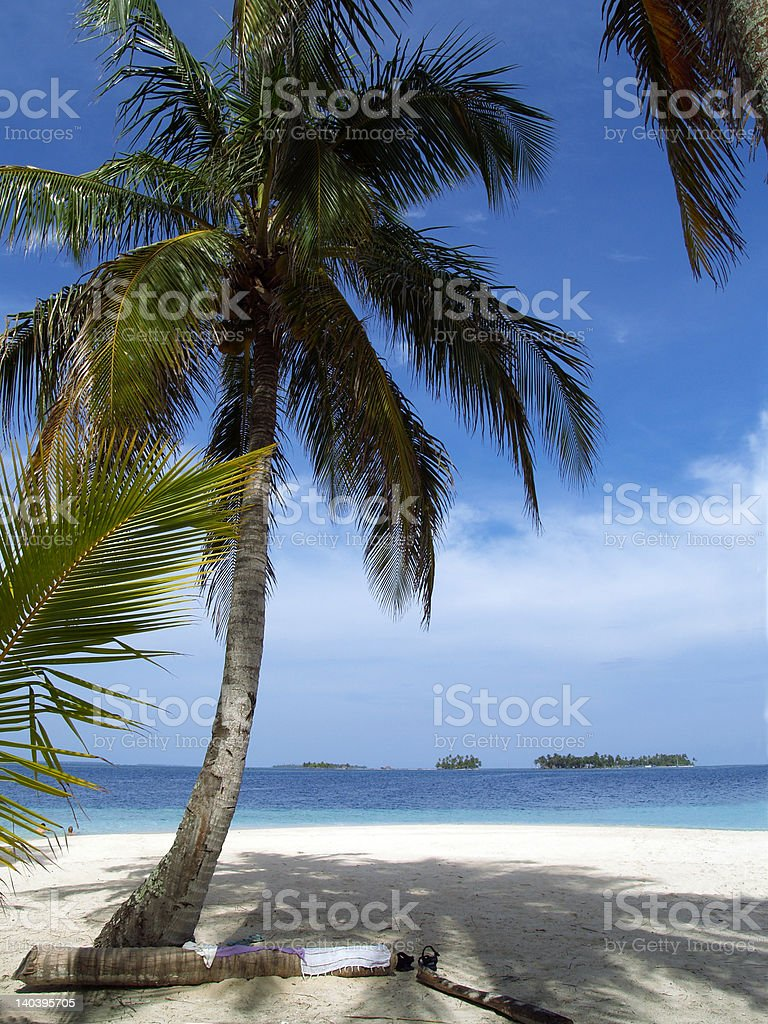 caribbean tropical white sand beach royalty-free stock photo