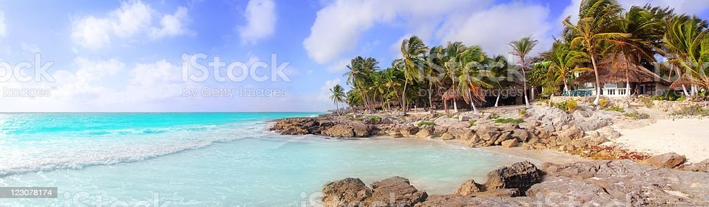 Caribbean Tulum Mexico tropical panoramic beach royalty-free stock photo