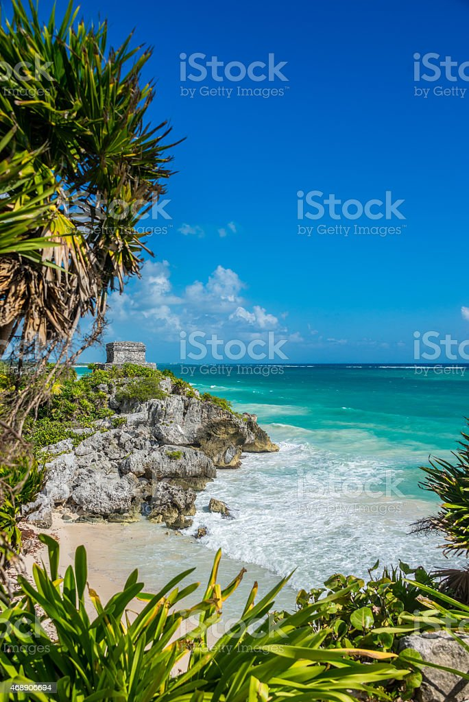 Caribbean view of Tulum Mayan Ruins and beach, perfect Paradise, stock photo