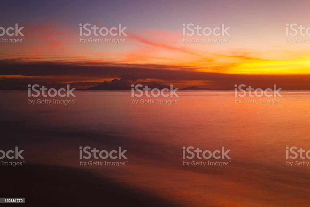 Caribbean Volcano Eruption Sunset royalty-free stock photo
