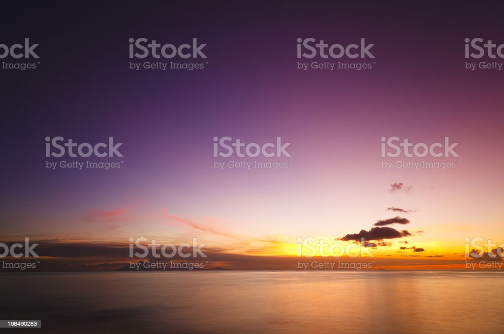 Caribbean Volcano Eruption Sunset stock photo