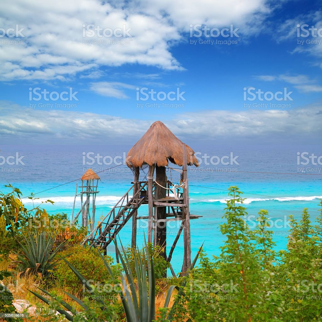 Caribbean zip line tyrolean turquoise sea stock photo