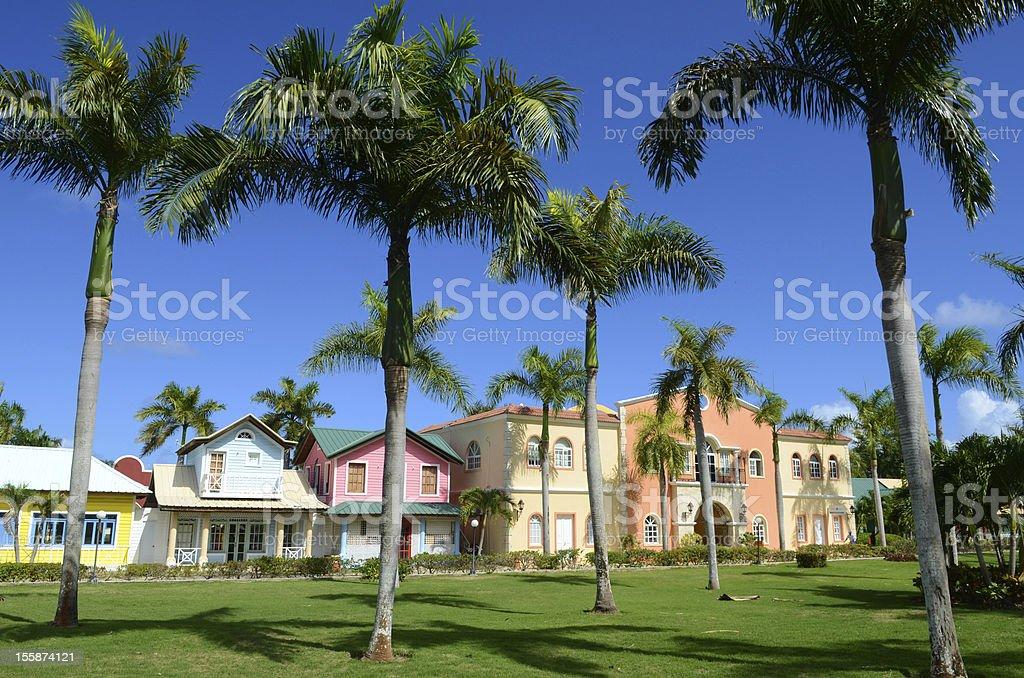caribbian houses stock photo