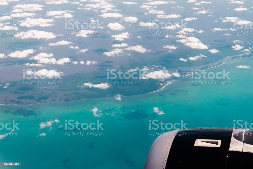 Caribe sea air view stock photo