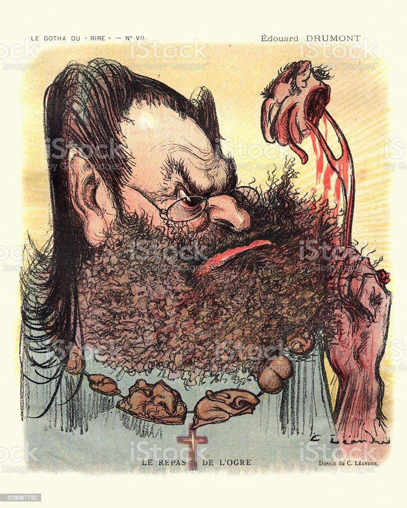 Caricature of Edouard Drumont - Le repas de l'orge stock photo
