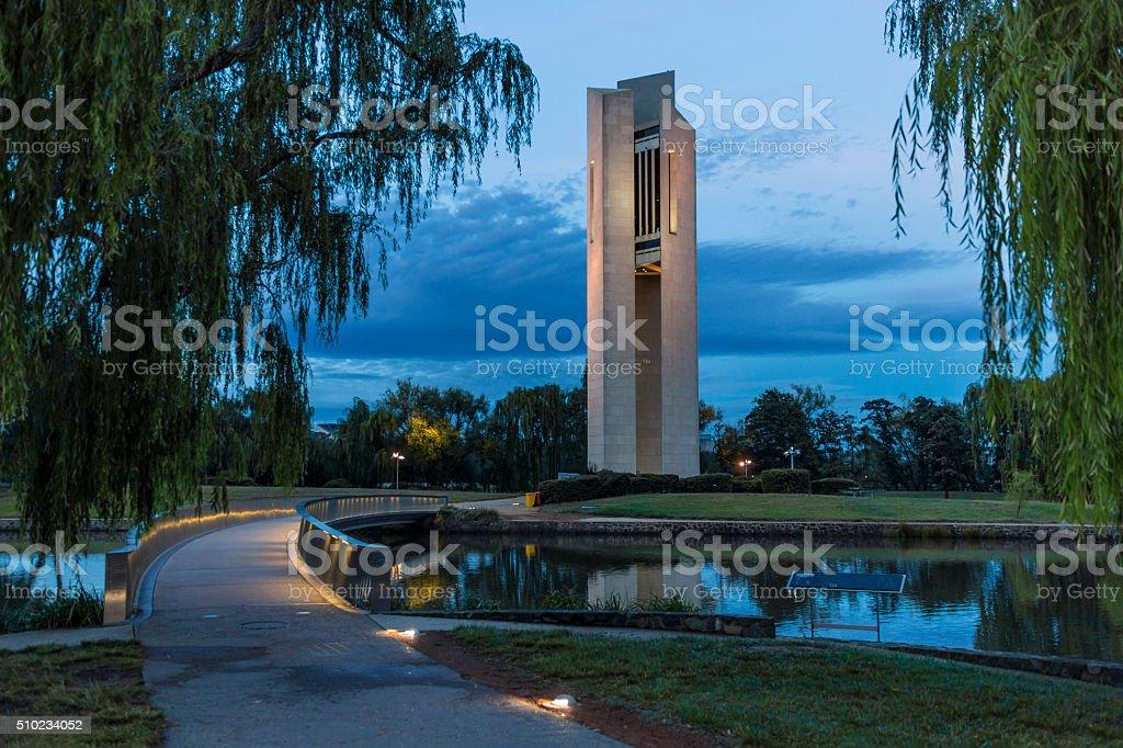 Carillon and access Bridge before dawn stock photo