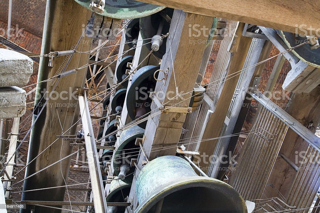 Carillon construction in the Belfry tower of Bruges stock photo