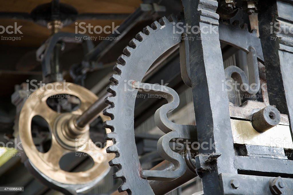 Carillon mechanics fragment of Belfry in Bruges stock photo