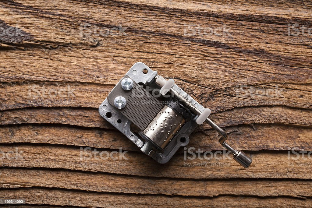 carillon (music box) on dark wood stock photo