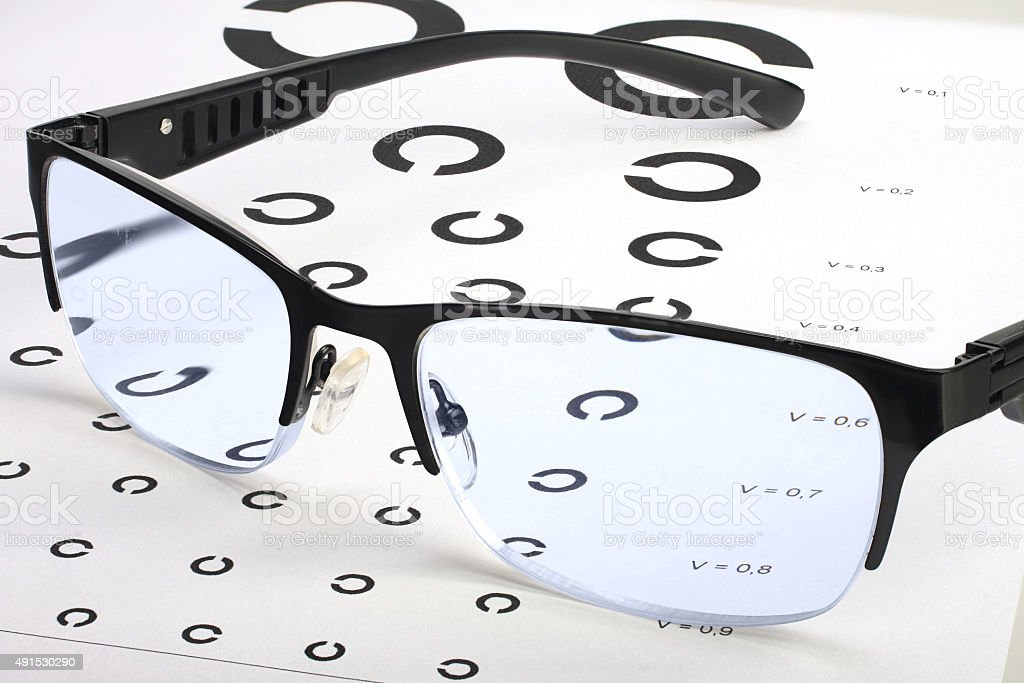 Caring for eye sight by proper glasses stock photo
