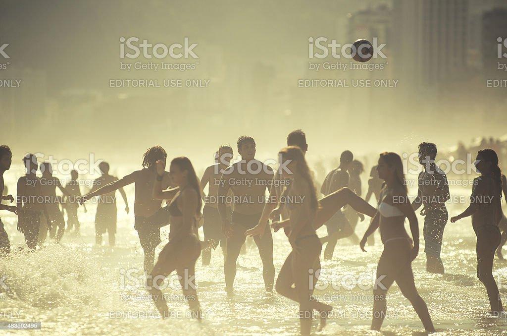 Carioca Brazilians Playing Football Soccer Posto Nove Rio de Janeiro stock photo