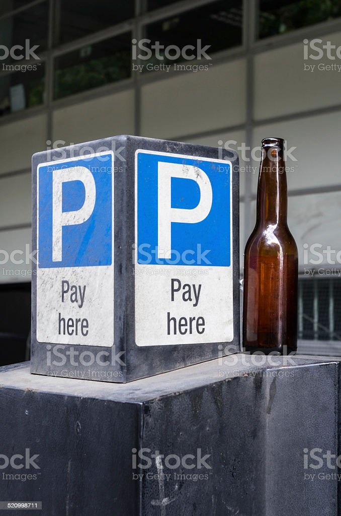 Cark park sign and beer stock photo