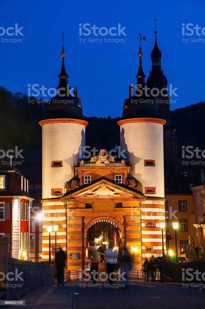 Carl Theodor Old Bridge in Heidelberg at night stock photo