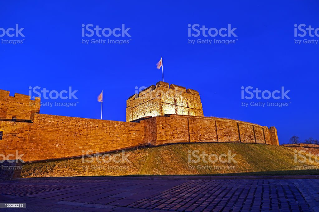 Carlisle Castle at night stock photo