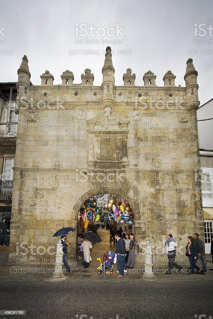 Carlos V entrance to Viveiro, Spain. stock photo
