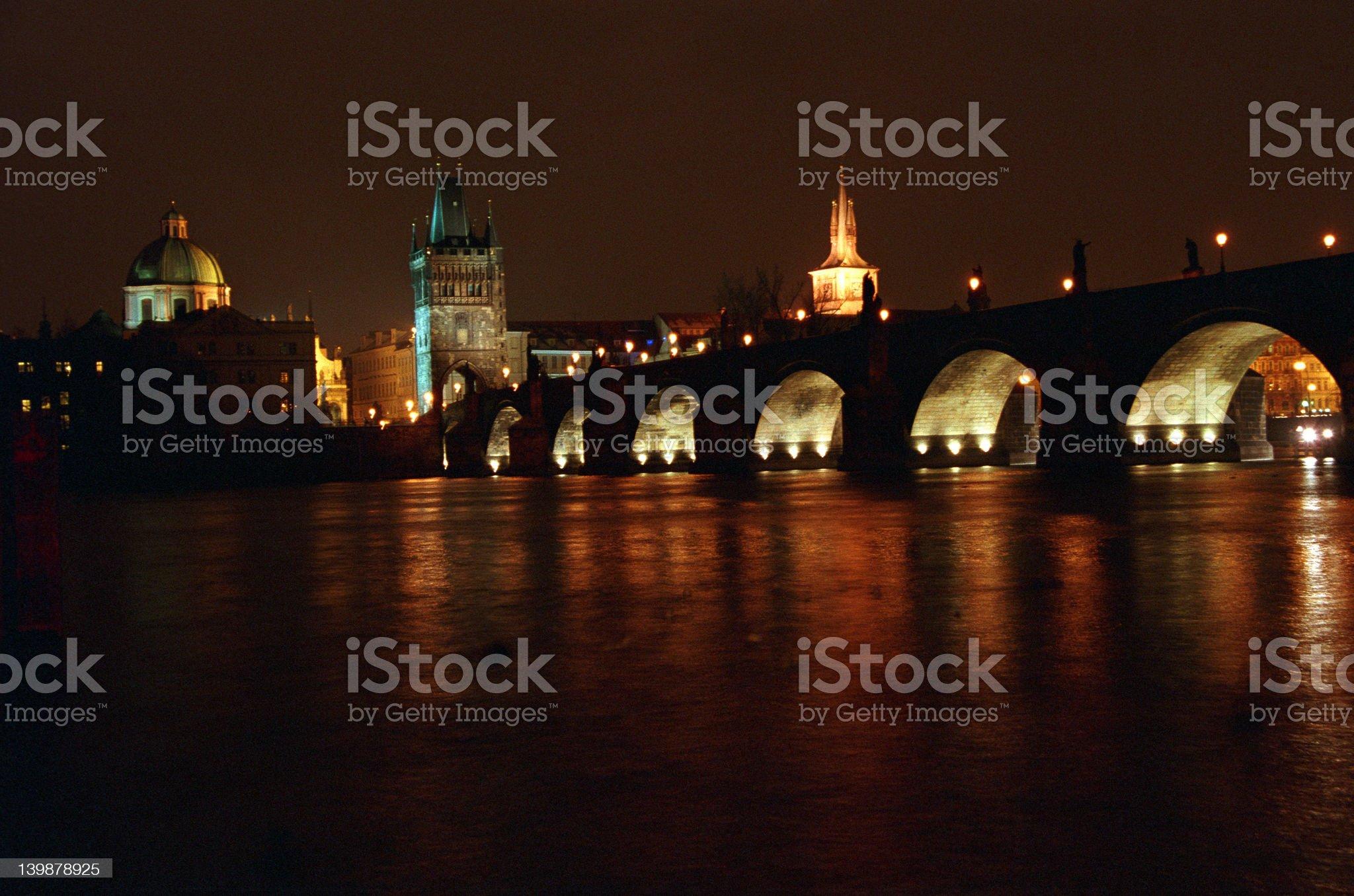 Carls bridge at night royalty-free stock photo