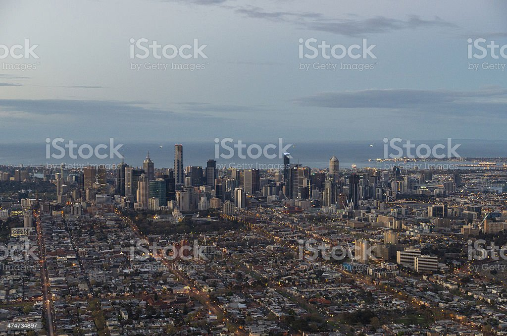 Carlton and Melbourne aerial view stock photo