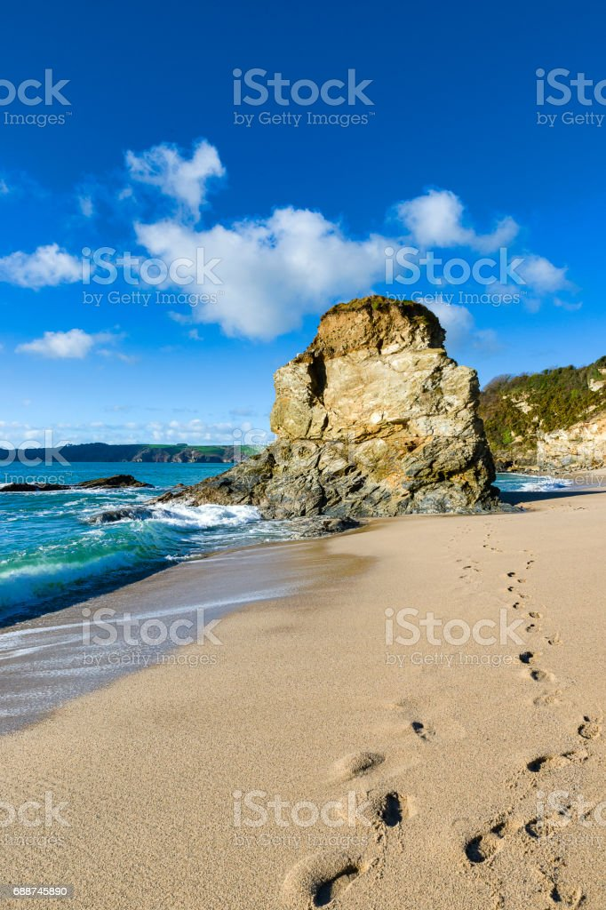Carlyon Bay on the East of Cornwall on a beautful spring day just after sunrise stock photo